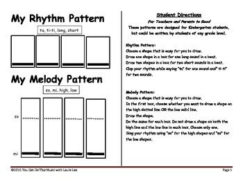 Kindergarten Rhythm and Melody Compositions