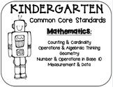Kindergarten Robot Math Standards