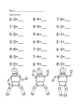Kindergarten Robot Subtraction worksheet