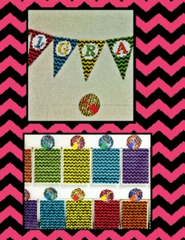 Kindergarten Rocks Chevron Pennant Bulletin Board Display