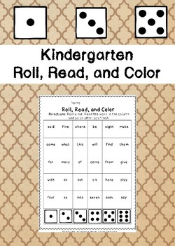 Kindergarten Roll, Read, and Color