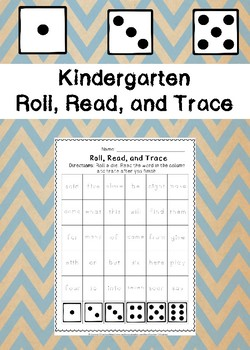 Kindergarten Roll, Read, and Trace