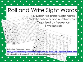 Kindergarten Roll and Write Pack - all Dolch Pre-primer words!