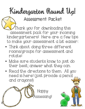 Kindergarten Round Up Assessment