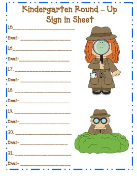 Kindergarten Round Up Detective Theme Sign in Sheets