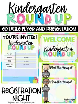 Kindergarten Round Up - Editable Flyer and Powerpoint for Registration Night