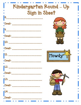 Kindergarten Round Up Sign In Sheets with Email line