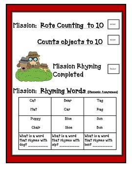 Kindergarten Round Up Skill Packet