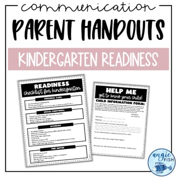 Kindergarten Round Up - Open House Parent Information Readiness Handouts