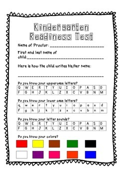 Remarkable image for printable kindergarten readiness test