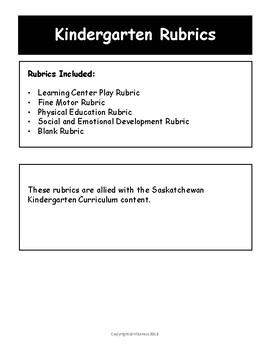 Kindergarten Rubrics