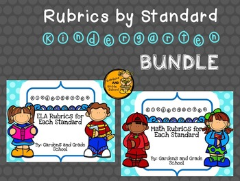 Kindergarten Rubrics - Math and ELA Standards BUNDLE