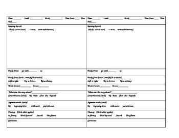 Kindergarten Running Records recording sheet/template