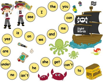 Kindergarten Sight Words Pirates Board Game  - SIPPS High Frequency Words