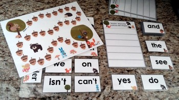 Kindergarten Sight Words Card and Board Game with Counting 1-20 Forest Animals
