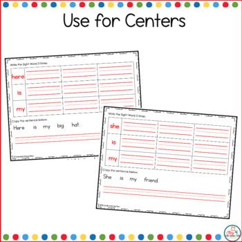 Kindergarten SIght Word Sentence Practice