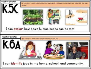 "Kindergarten SOCIAL STUDIES TEKS ""I CAN"" Statements"