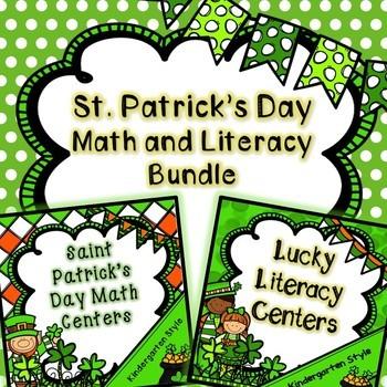 Kindergarten Saint Patrick's Day Centers - Math and Litera