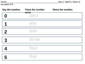 Kindergarten - Say It, Spell It, See It - Numbers 0-10