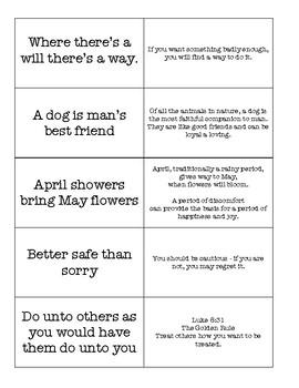 Kindergarten Sayings & Phrases Matching Game