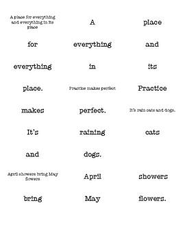 Kindergarten Sayings & Phrases Mixed Up