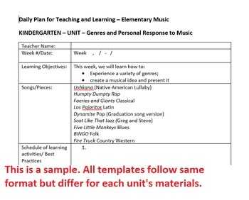 Kindergarten School and Patriotic Songs Lesson Plan Template Arkansas Music
