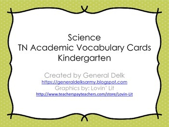 Kindergarten Science Academic Vocabulary