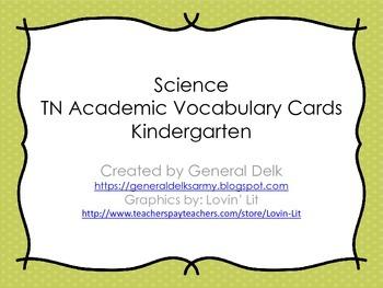 Kindergarten Science Academic Vocabulary