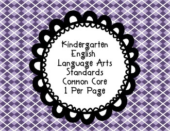 Kindergarten Reading Common Core Standards one per page