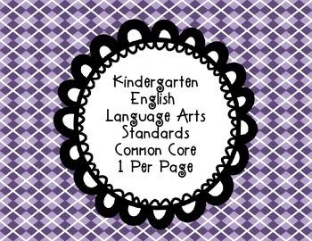 Kindergarten Reading Common Core Standards one per page
