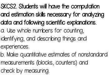 Kindergarten Science Georgia  Common Core Standards one standard per page