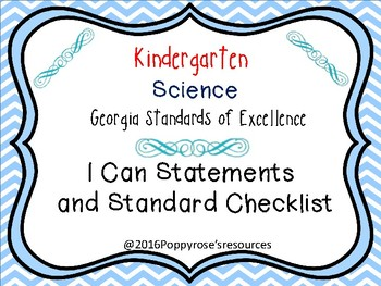 Kindergarten Science I Can Statements Georgia Standards of