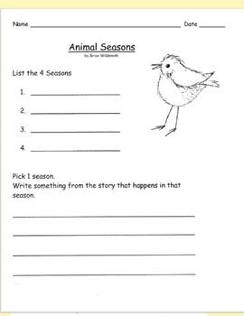 Kindergarten Science Literature: Animal Seasons:  Comprehension Worksheet
