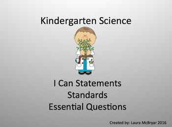 Kindergarten Science Standards, I Can Statements, and Essential Questions
