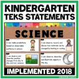 Kindergarten Science TEKS - Can and Will Standards Statements