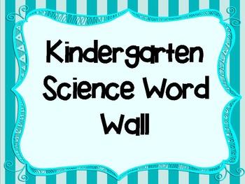 Kindergarten Science Word Wall Words