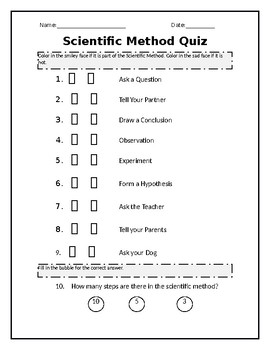 Kindergarten Scientific Method Quiz