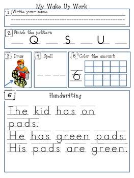 Kindergarten Scott Foresman Morning Work Lesson 2.3