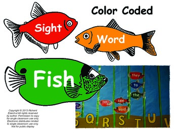 Kindergarten Scott Foresman Reading Street Color Coded Sight Word Fish