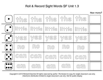Kindergarten Roll & Record Sight Words