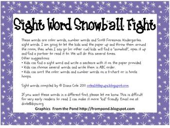 Kindergarten Scott Foresman Sight Word Snowball Fight Words