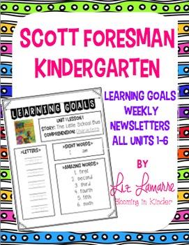 Kindergarten Scott Foresman Weekly Learning Goals~ All Units 1-6