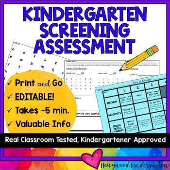 Kindergarten Screening Assessment for Summer or Beginning of the Year