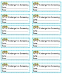 Kindergarten Screening  Date Reminder