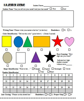 Kindergarten Screening Kit