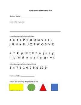 Kindergarten Screening Test