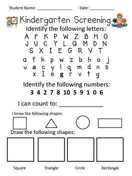 Challenger image with kindergarten readiness assessment printable