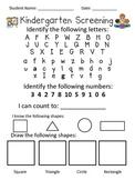 Kindergarten Screening Test for Students Entering Kindergarten