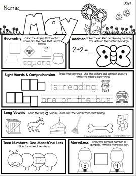 Kindergarten Seat Work - Homework - MAY - Math - Literacy - NO PREP