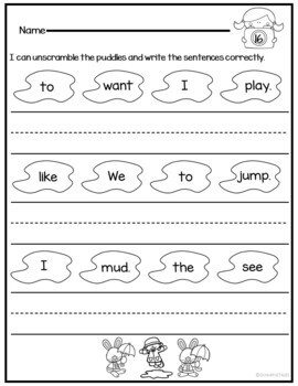 Writing Sentences Kinder for Sight Words Grammar and Handwriting Practice